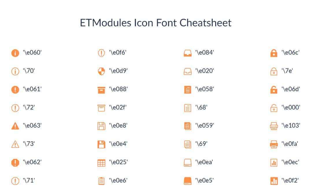 Week 19: ETModules Icon Font Cheatsheet