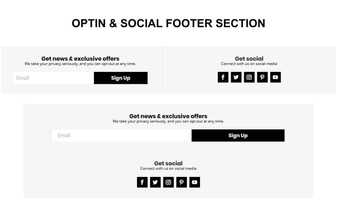 Week 136: Optin & Social Footer Section